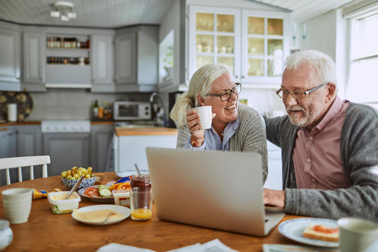 senior couple use client portal for care